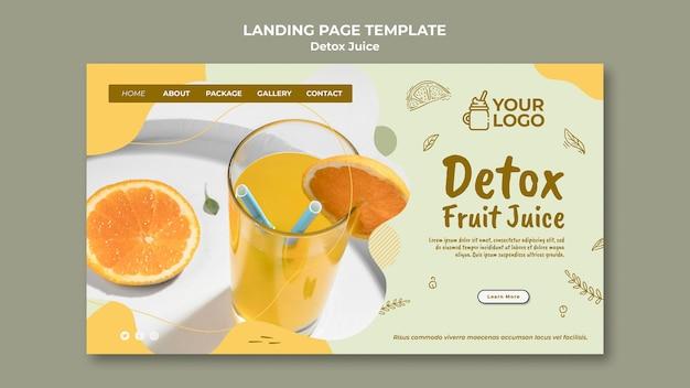 Modelo de página de destino do conceito de suco detox