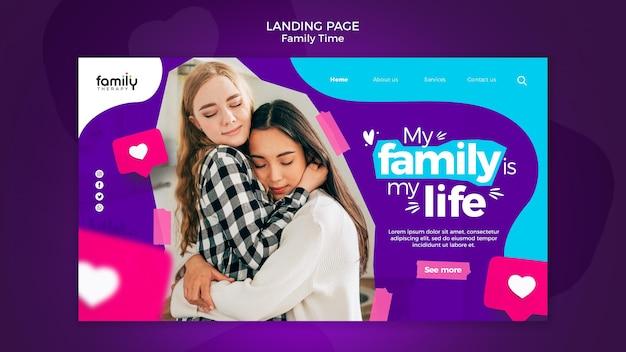 Modelo de página de destino do conceito de tempo para a família