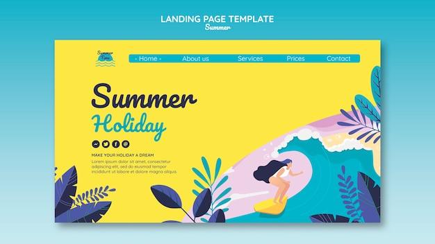 Modelo de página de destino do conceito de verão