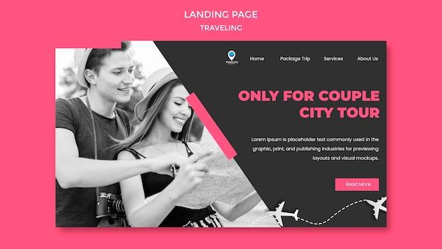 Modelo de página de destino do conceito de viagem