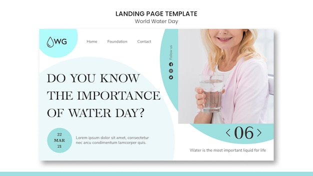 Modelo de página de destino do conceito do dia mundial da água