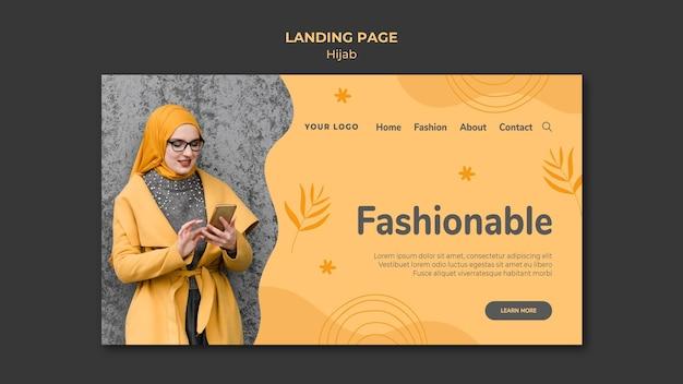 Modelo de página de destino do conceito hijab