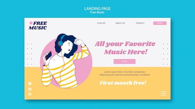 Modelo de página de destino do conceito musical