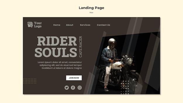Modelo de página de destino do conceito rider
