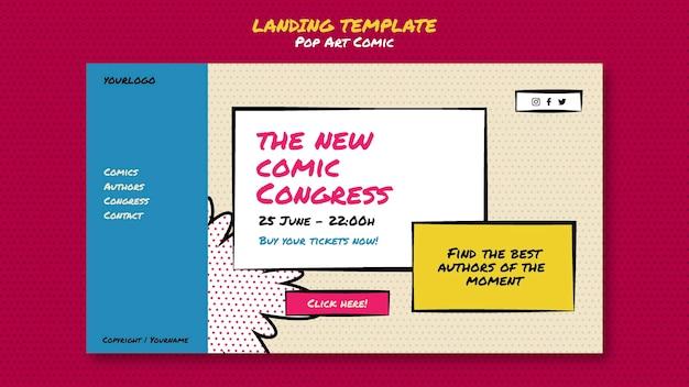 Modelo de página de destino do congresso em quadrinhos
