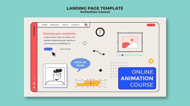 Modelo de página de destino do curso de animação online