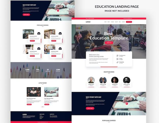 Modelo de página de destino do curso de educação