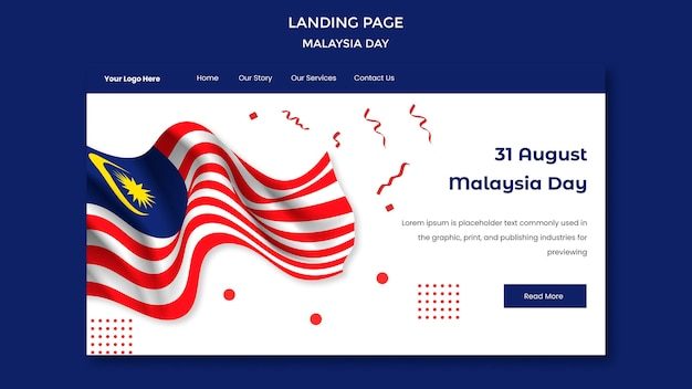 Modelo de página de destino do dia 31 de agosto da malásia