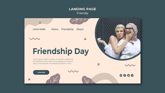 Modelo de página de destino do dia da amizade