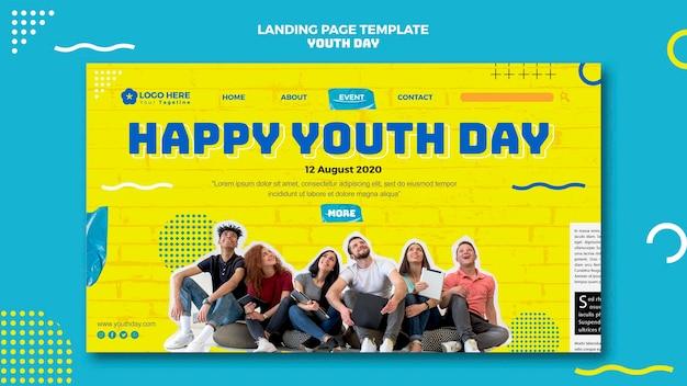 Modelo de página de destino do dia da juventude