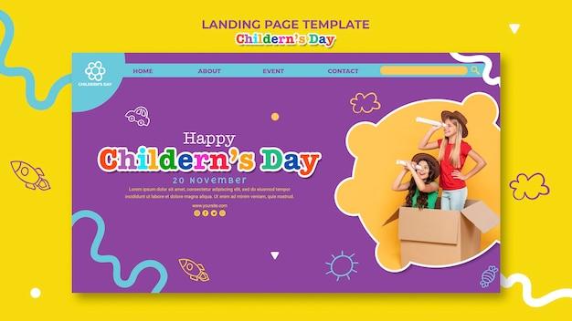 Modelo de página de destino do dia das crianças