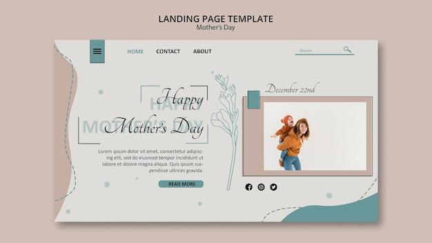 Modelo de página de destino do dia das mães