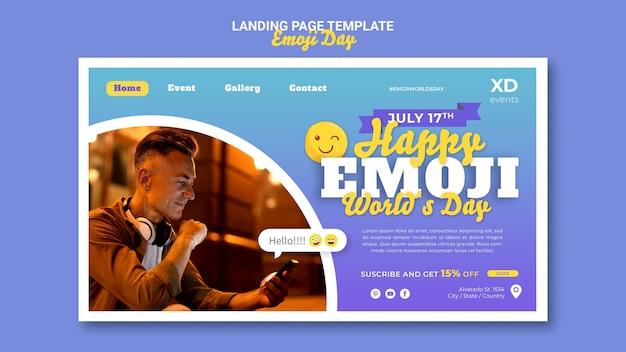 Modelo de página de destino do dia de emoji