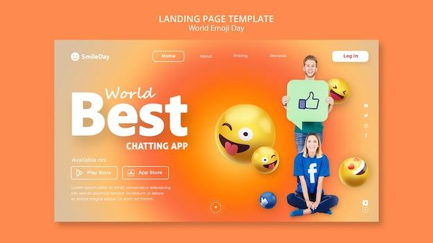 Modelo de página de destino do dia de emoji Psd grátis