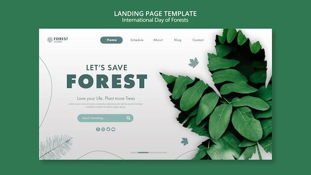 Modelo de página de destino do dia de florestas com foto