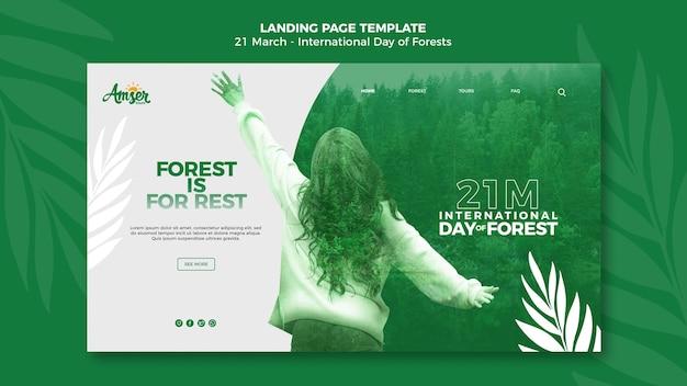Modelo de página de destino do dia de florestas com foto Psd grátis