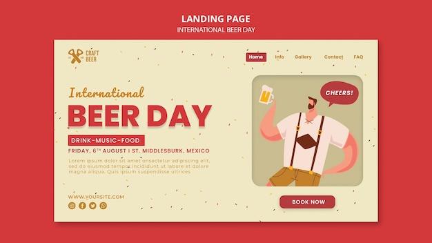 Modelo de página de destino do dia internacional da cerveja