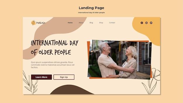 Modelo de página de destino do dia internacional dos idosos