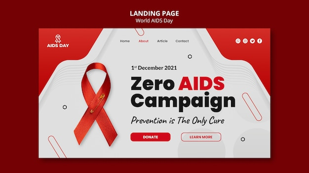 Modelo de página de destino do dia mundial da aids
