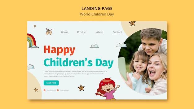 Modelo de página de destino do dia mundial da criança