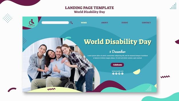 Modelo de página de destino do dia mundial da deficiência