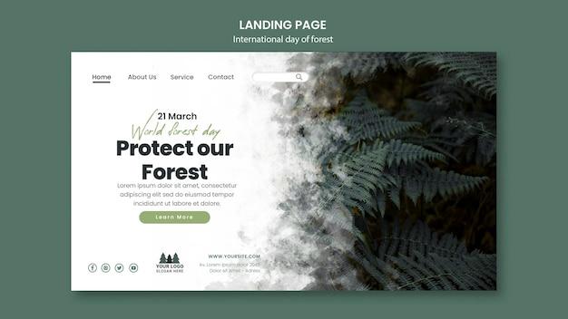 Modelo de página de destino do dia mundial da floresta