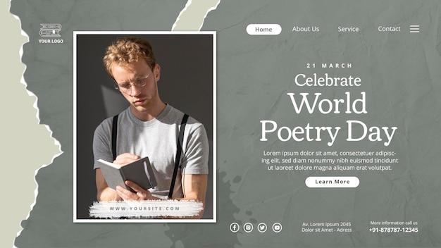 Modelo de página de destino do dia mundial da poesia