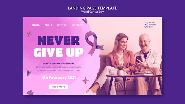 Modelo de página de destino do dia mundial do câncer com fita