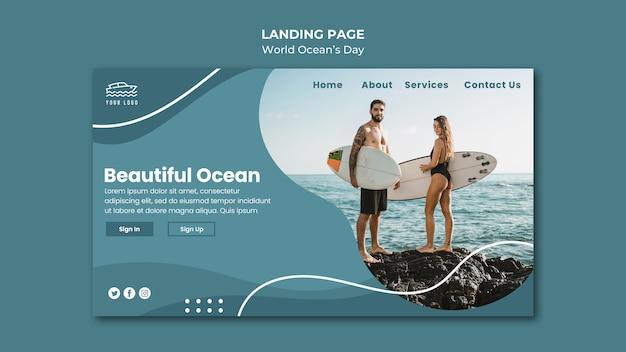 Modelo de página de destino do dia mundial do oceano