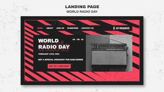 Modelo de página de destino do dia mundial do rádio