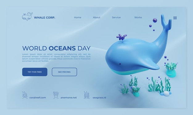 Modelo de página de destino do dia mundial dos oceanos com ilustração de renderização 3d de baleia