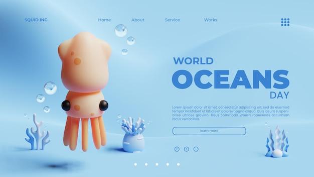 Modelo de página de destino do dia mundial dos oceanos com ilustração de renderização 3d do squid