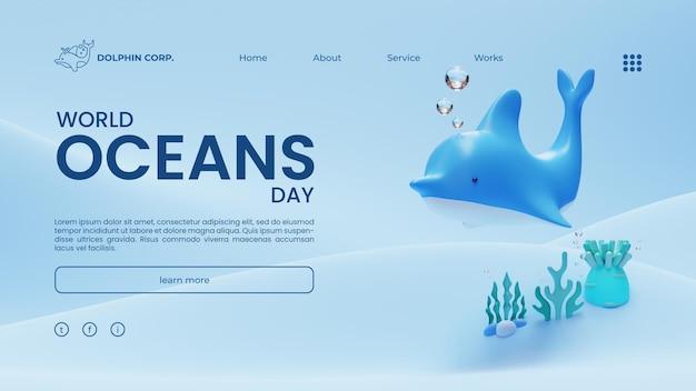 Modelo de página de destino do dia mundial dos oceanos com ilustração de renderização 3d dolphin