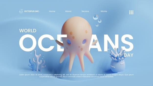 Modelo de página de destino do dia mundial dos oceanos com ilustração de renderização 3d octopus