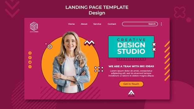 Modelo de página de destino do estúdio de design
