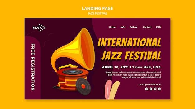 Modelo de página de destino do festival de jazz