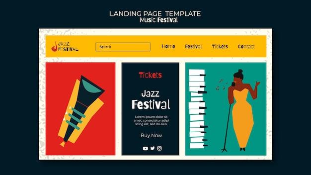 Modelo de página de destino do festival de música