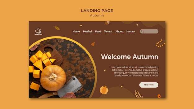 Modelo de página de destino do festival de outono
