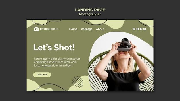 Modelo de página de destino do fotógrafo