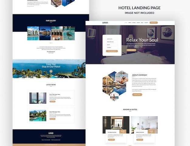 Modelo de página de destino do hotel