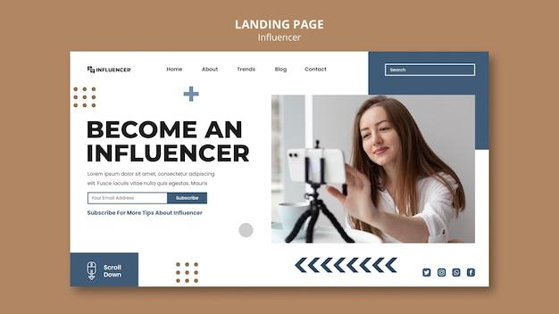 Modelo de página de destino do influenciador com foto