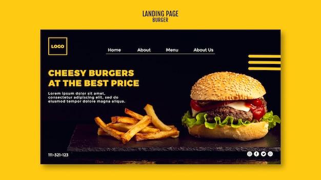 Modelo de página de destino do instagram burger