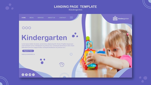 Modelo de página de destino do jardim de infância