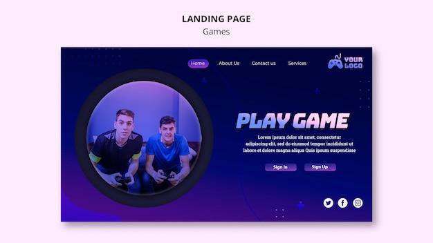 Modelo de página de destino do jogo