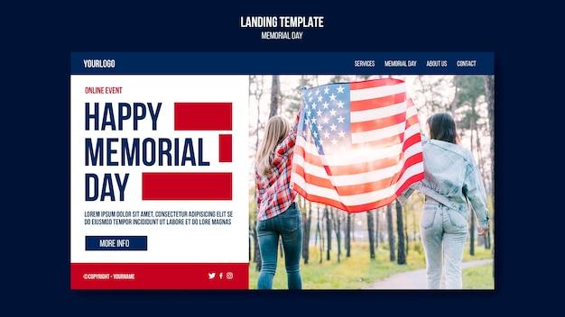 Modelo de página de destino do memorial day