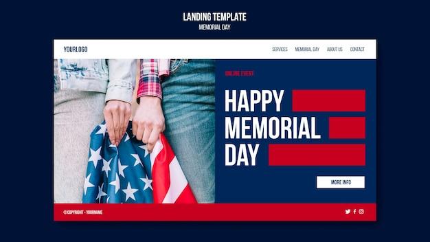 Modelo de página de destino do memorial day Psd Premium