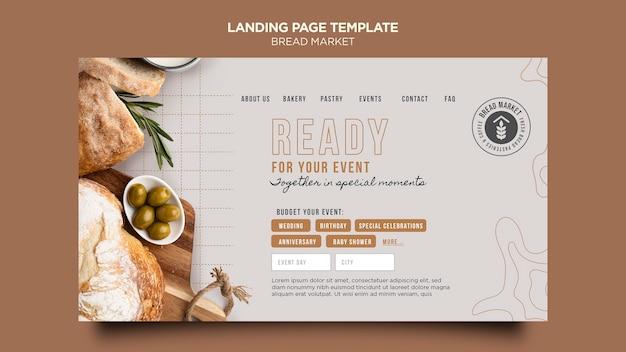 Modelo de página de destino do mercado de pães