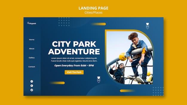 Modelo de página de destino do parque da cidade
