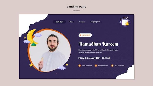 Modelo de página de destino do ramadã com foto