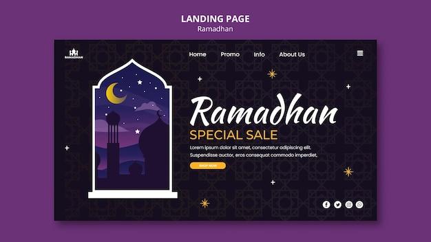 Modelo de página de destino do ramadã ilustrado